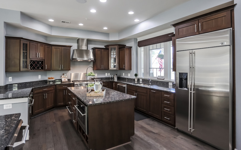 Real Estate Photography, dark toned kitchen