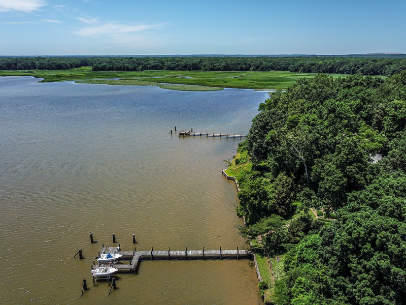 Real Estate Photography, lake view with docks