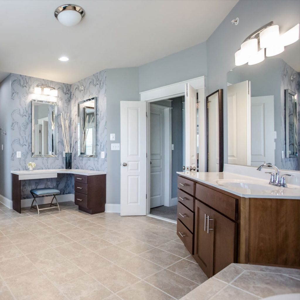 Commercial Photography & Videography, blue accent bathroom