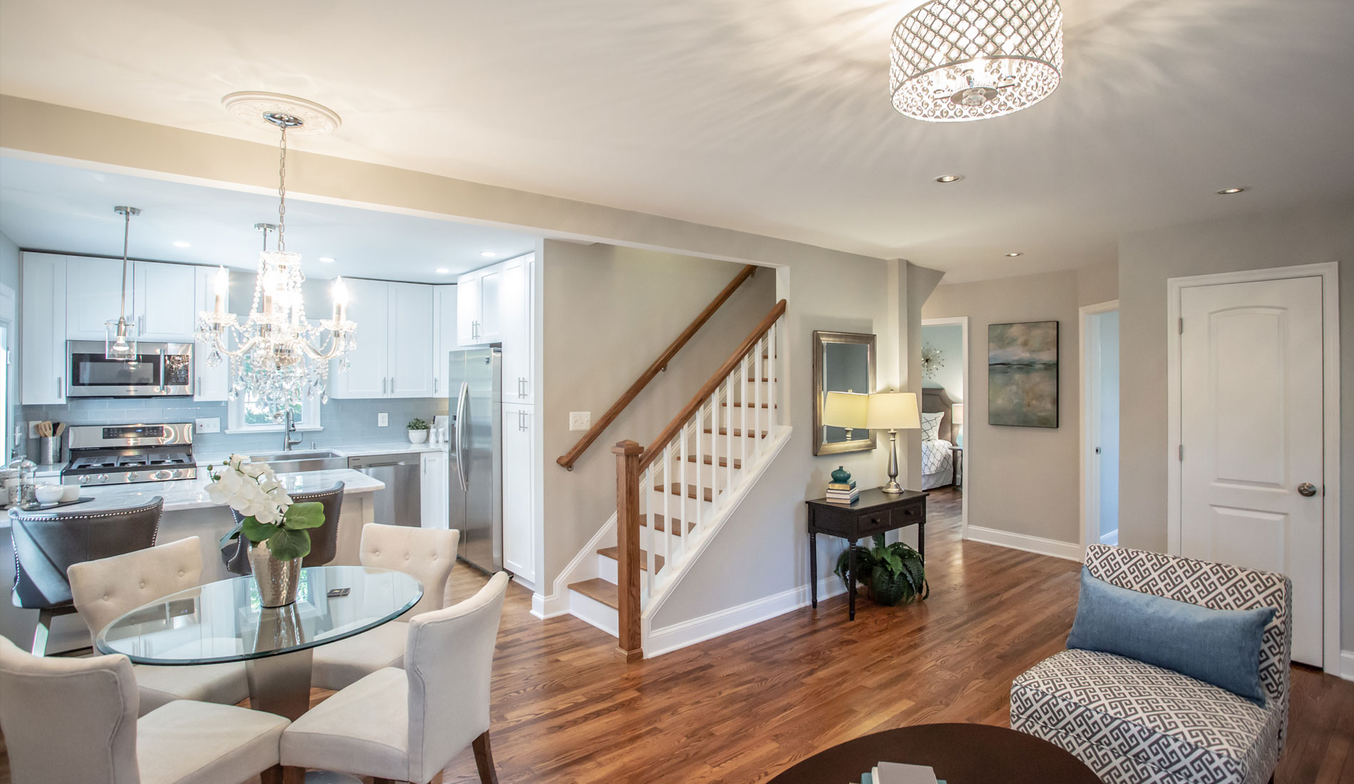 Commercial Photography & Videography, livingroom shot focusing on staircase