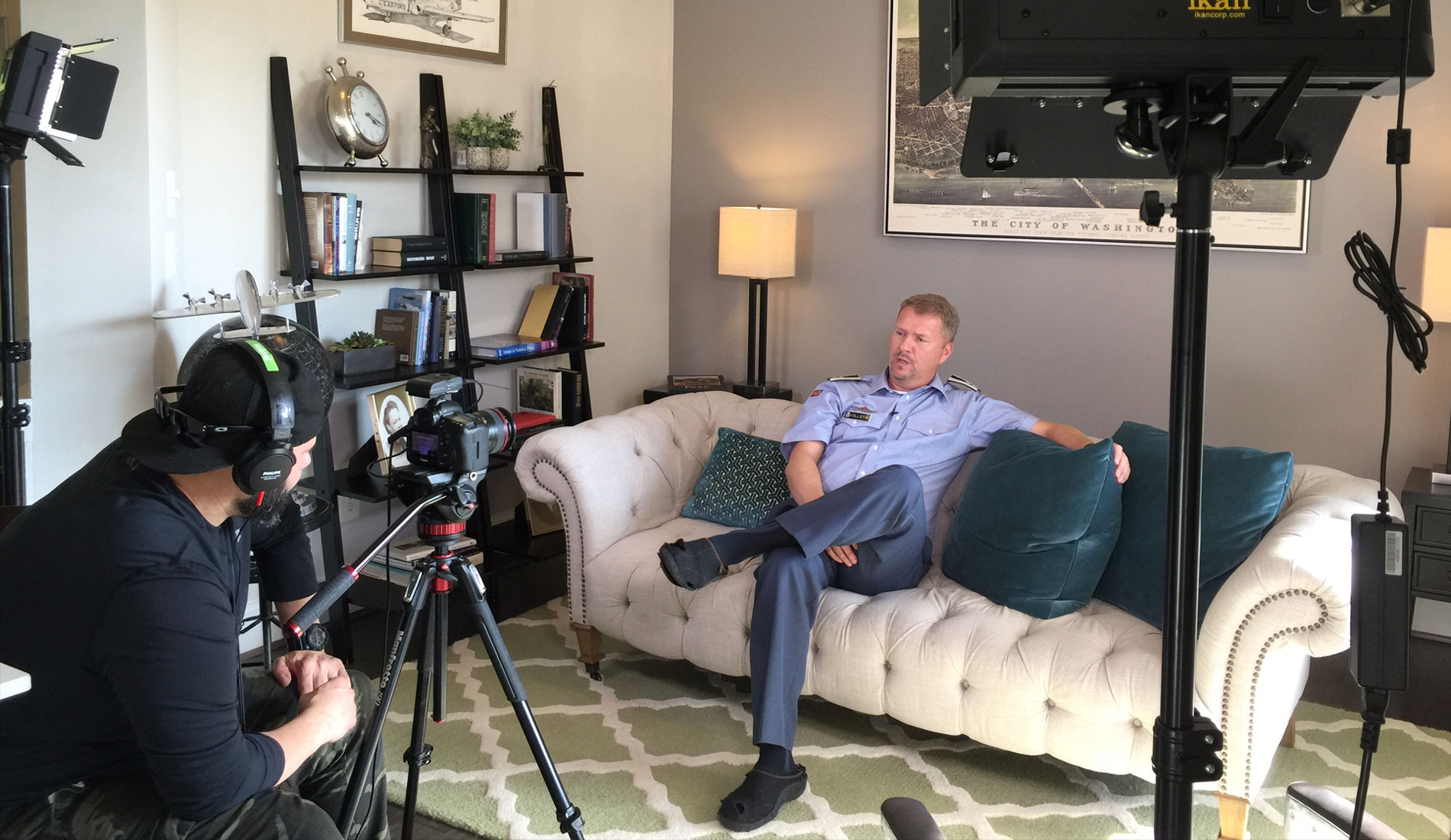 Videography Marketing, behind the scenes of taping, man on couch